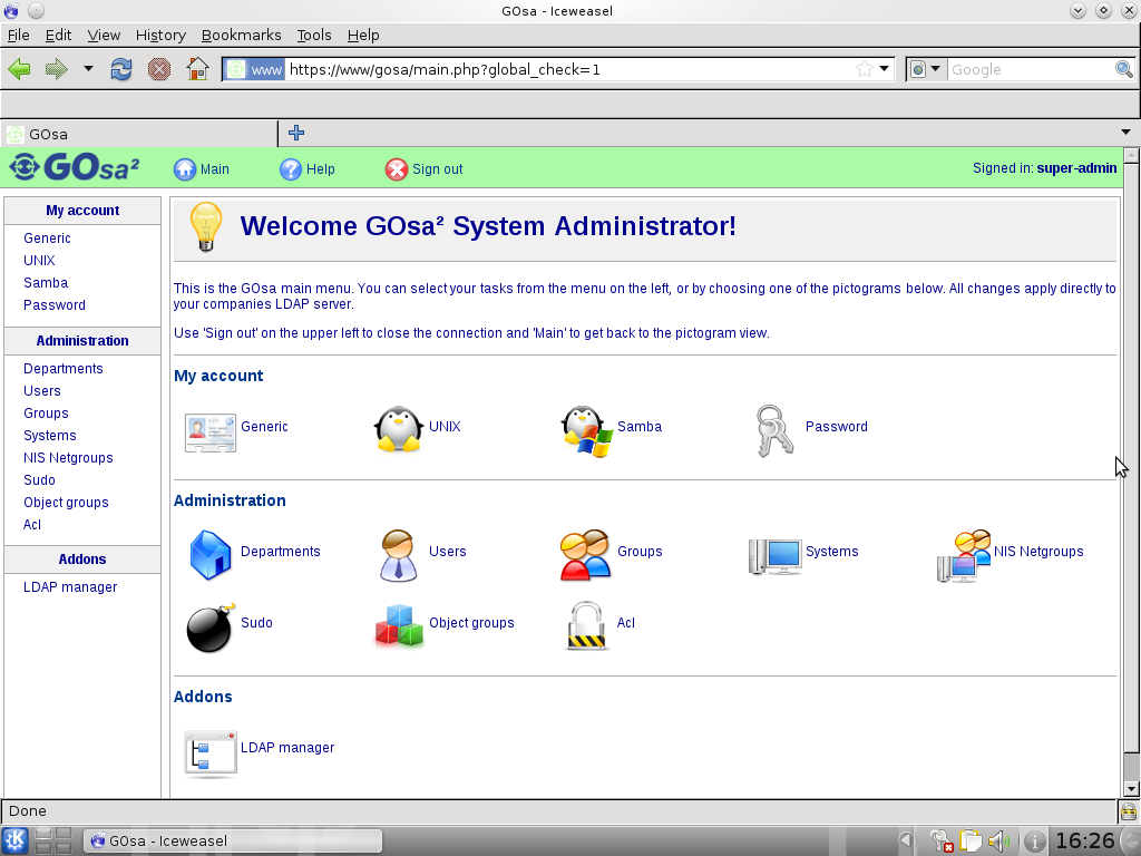 GOsa² overview page after login as the first  user