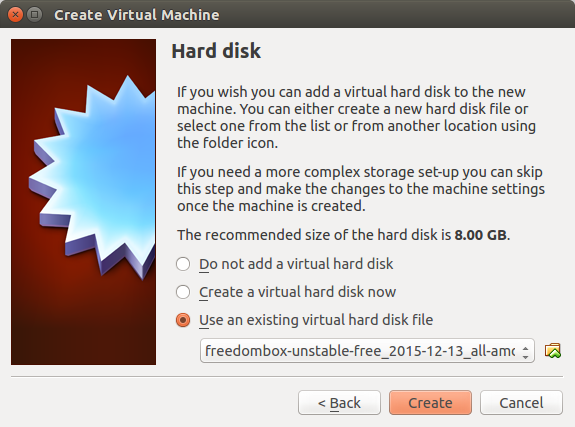 VirtualBox Hard disk dialog
