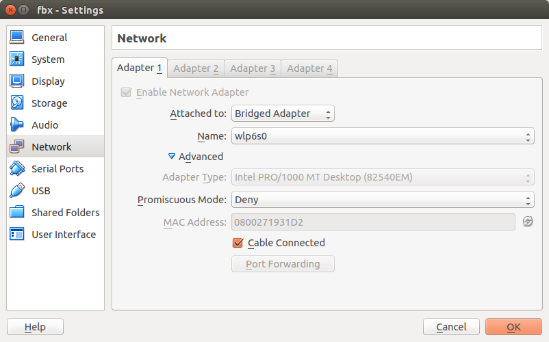VirtualBox recommended network setting