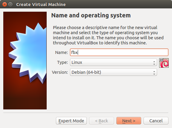 VirtualBox Name and OS dialog
