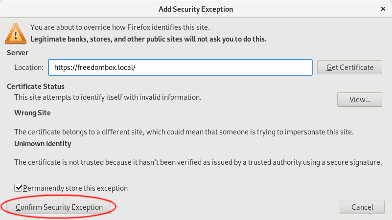 Add Security Exception